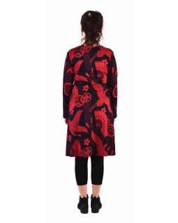 Šaty s dlouhým rukávem, zavinovací na prsou, černé s červeným potiskem