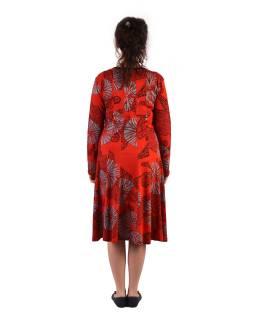 Delší šaty s dlouhým rukávem, výstřih do V, červené s šedo-černým potiskem