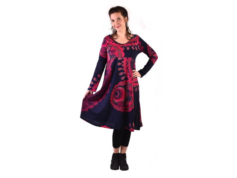 Šaty s dlouhým rukávem, střižené pod prsy, do A, tmavě modré s růžovým potiskem