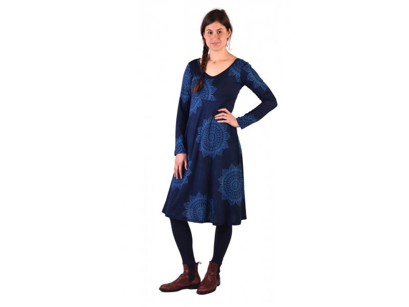 Šaty s dlouhým rukávem, střižené pod prsy, do A, tmavě modré s mandalami