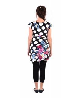 """Krátké černé šaty s krátkým rukávkem, s potiskem """"Dots & Flower"""""""