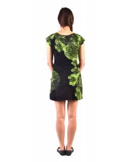 """Krátké černé šaty s krátkým rukávkem, s potiskem """"Mandala & Flower"""""""