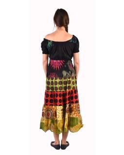 Dlouhé šaty s potiskem, balonový rukávek, multibarevné