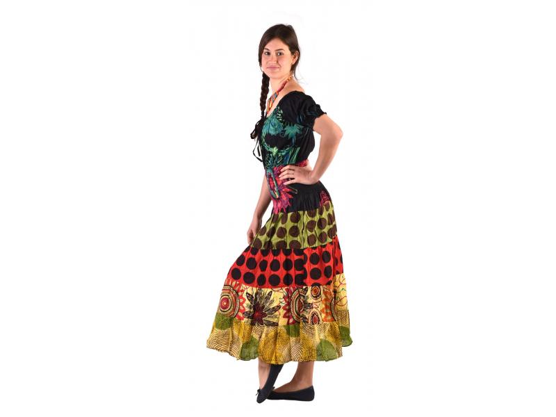 Dlouhé šaty s potiskem, balonový rukávek, barevné