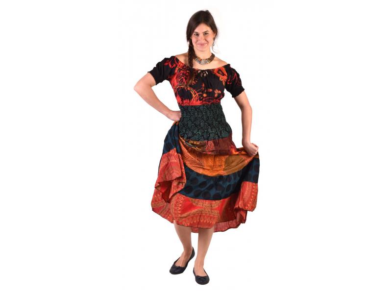 Dlouhé šaty s potiskem, balonový rukávek, červeno-oranžové