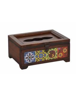 Dřevěná krabice na kapesníky zdobená keramickými dleždicemi, 22x16x10cm