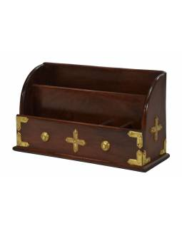 Ozdobný dřevěný pořadač zdobený mosazným plechem, 38x14x23cm