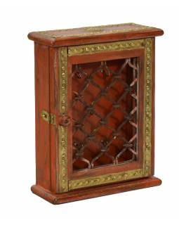 Skříňka na klíče zdobená mosazným kováním z mangového dřeva, 20x8x26cm