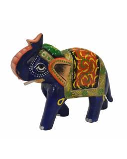 Dřevěný slon, ručně malovaný, 19x7x16cm