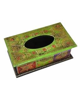 Dřevěná krabice na kapesníky, ručně malovaná, 27x15x10cm