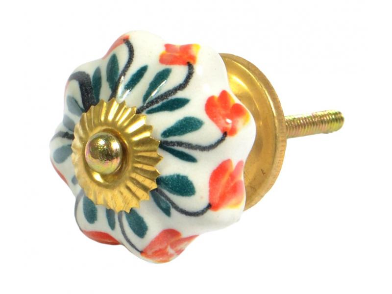 Malovaná keramická úchytka na šuplík, bílá s květinou, průměr 4,5 cm