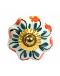Malované keramické madlo na šuplík, bílé s květinou, průměr 4,5 cm