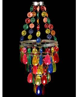 Ozdobný plastový lustr - stínidlo, multibarevné korálky, 61cm