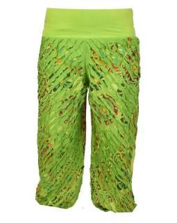 """Dlouhé zelené balonové kalhoty """"Patchwork design"""", elastický pas"""