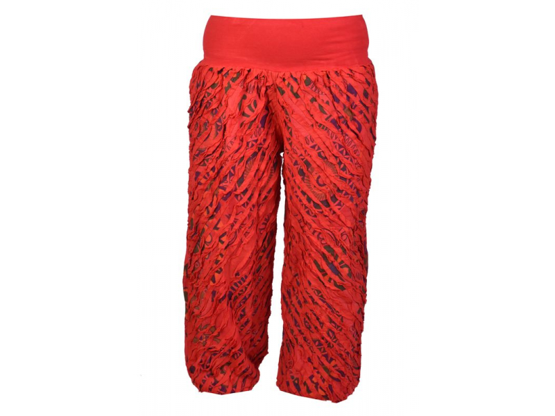 """Dlouhé červené balonové kalhoty """"Patchwork design"""", elastický pas"""