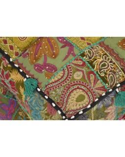 Taburet, Rajastan ari zari, patchwork, čtvercový, 45x45x43cm