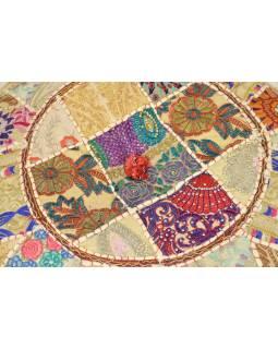Taburet, Rajasthan, patchwork, Ari bohatá výšivka, béžový podklad, 56x56x31cm