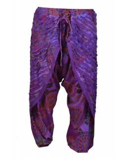 """Dlouhé fialové turecké kalhoty se sukní """"Patchwork design"""", elastický pas"""