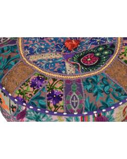 Taburet, Rajasthan, patchwork, Ari bohatá výšivka,, 51x51x28cm