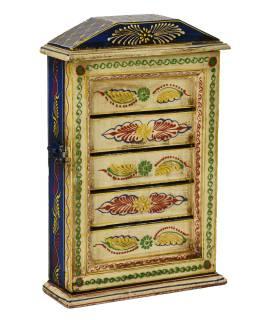 Skříňka na klíče z mangového dřeva, ručně malovaná, 20x6x31cm