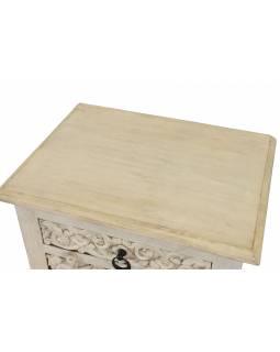 Noční stolek s vyřezávanými dvířky, šuplík, mango, 50x38x70cm