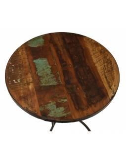 Stolička pod kytku z teakového dřeva, železné nohy, 50x50x60cm
