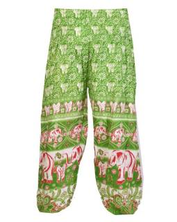 """Dlouhé zelené balonové kalhoty """"Elephant design"""", žabičkování"""