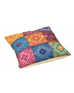 Povlak na polštář, krémový, barevné čtverce, 40x40cm