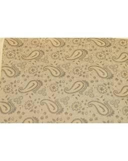 Povlak na polštář s výšivkou paisley, saténový, šedo-krémový, zip, 40x40cm