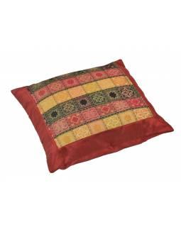 Povlak na polštář s výšivkou, saténový, vínový, barevné kostičky, zip, 40x40cm