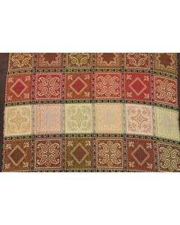 Povlak na polštář s výšivkou, saténový, hnědý, barevné kostičky, zip, 40x40cm