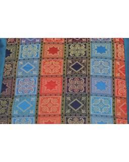 Povlak na polštář s výšivkou, saténový, modrý, barevné kostičky, zip, 40x40cm