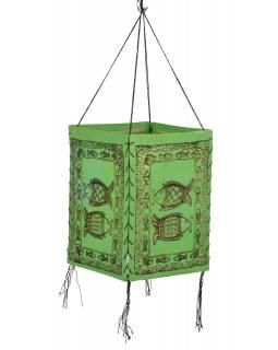 Stínidlo, čtyřboké, zelené, zlatý tisk, 2 ryby, 18x25cm