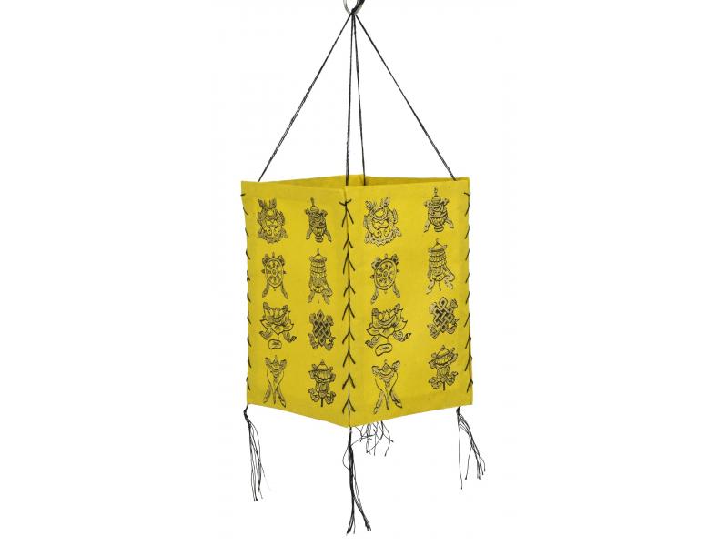 Stínidlo, čtyřboké, žluté se zlatým potiskem Astamangal, 18x25cm