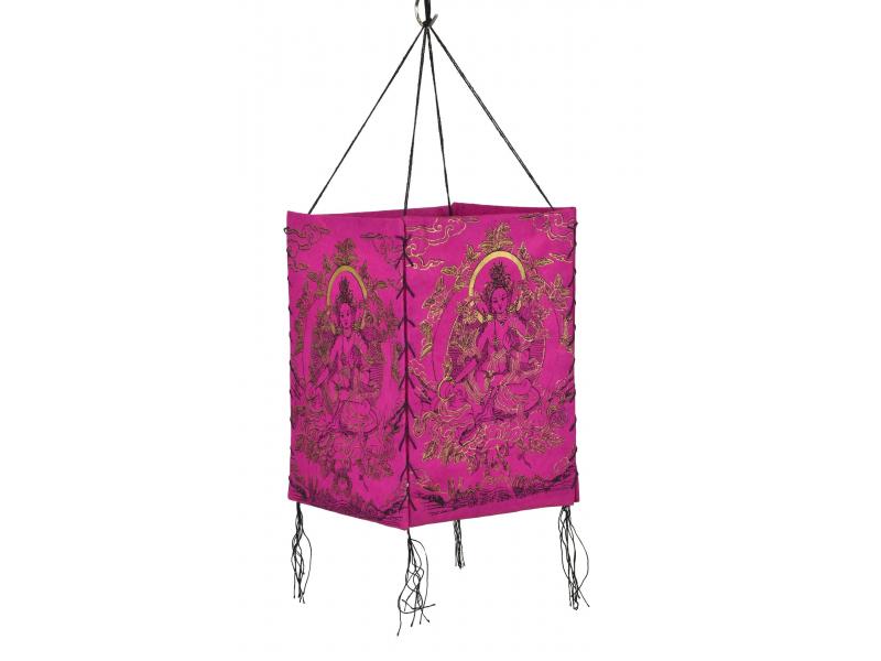 Stínidlo, čtyřboké růžové se zlato-černým potiskem Zelené Táry, 18x25cm