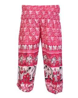 """Dlouhé růžové balonové kalhoty """"Elephant design"""", žabičkování"""