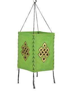 Stínidlo, čtyřboké, zelené, zlatý tisk, nekonečný uzel, 18x25cm