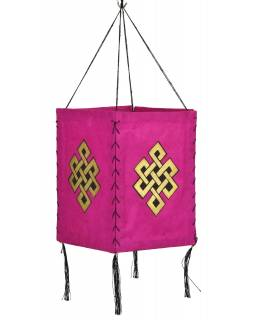 Stínidlo, čtyřboké, růžový, zlatý tisk, nekonečný uzel, 18x25cm
