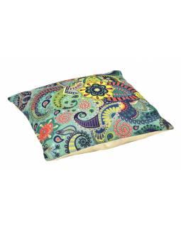 Povlak na polštář, krémový, barevné vzory, 40x40cm