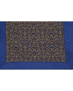 Povlak na polštář s výšivkou, saténový, tmavě modrý, zip, 40x40cm