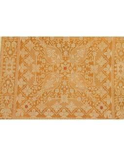 Saténový povlak na polštář s výšivkou, hořčicovo-zlatý, zip, 40x40cm
