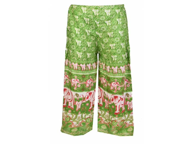 """Dlouhé zelené kalhoty """"Elephant design"""", žabičkování"""