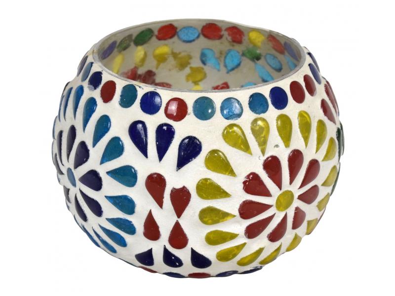 Lampička, skleněná mozaika, kulatá, průměr 9cm, výška 7cm