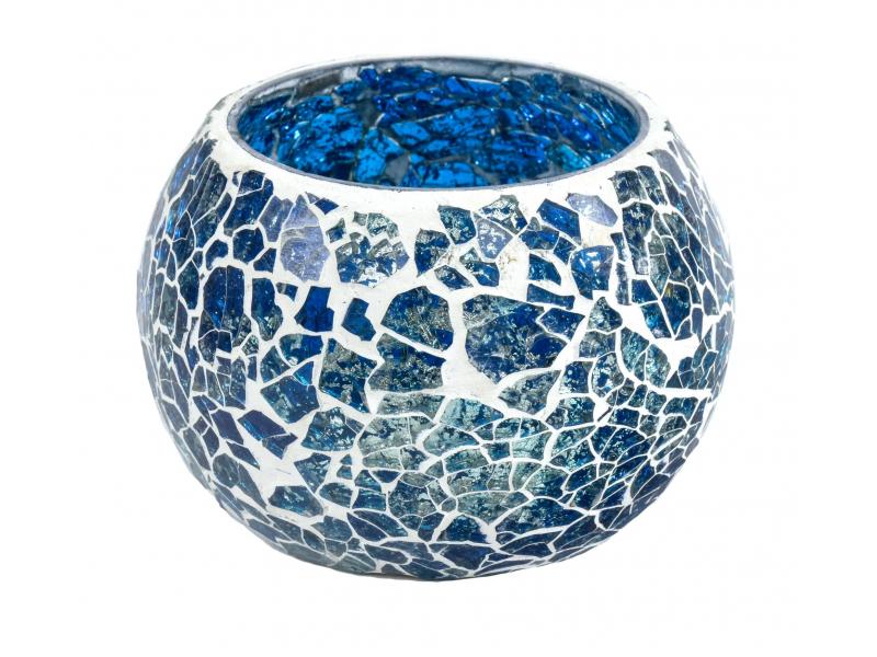 Lampička, skleněná mozaika, kulatá, tyrkysová, průměr 9cm, výška 7cm