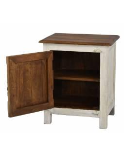 Noční stolek z mangového dřeva, bílá patina, 50x38x59cm