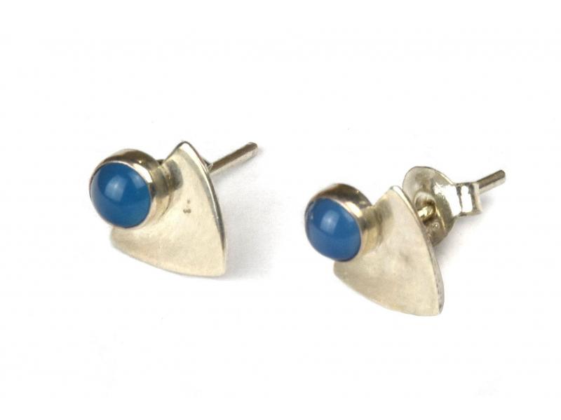 Stříbrné náušnice, pár, světle modrý kamínek, 9mm, zapínání na puzetu (AG 925)