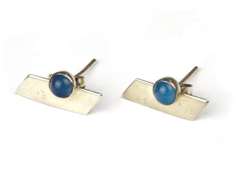 Stříbrné náušnice, pár, světle modrý kamínek, 13x7mm, zapínání na puzetu (AG 925