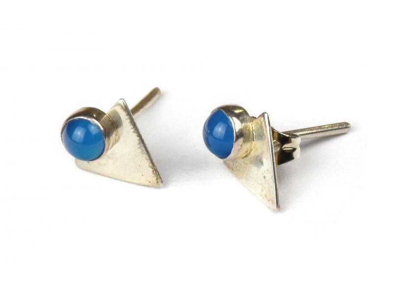 Stříbrné náušnice, pár, světle modrý kamínek, 10mm, zapínání na puzetu (AG 925)