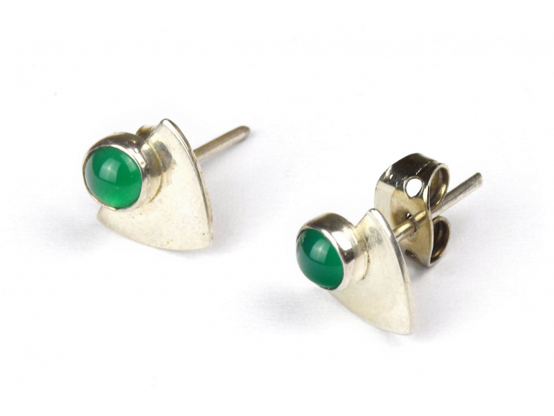 Stříbrné náušnice, pár, zelený kamínek, 9mm, zapínání na puzetu (AG 925)