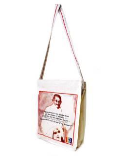 Plátěná taška přes rameno s barevným tiskem Gandhi, 28x35x11cm